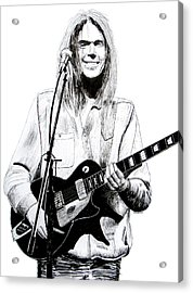 Neil Young 1972 Acrylic Print by Ron Enderland