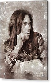 Neil Young By Mary Bassett Acrylic Print