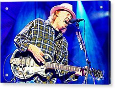 Neil Young In Concert Acrylic Print by John Malone