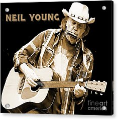 Neil Young Poster Acrylic Print by John Malone