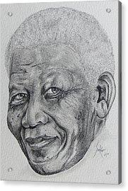 Nelson Mandela Acrylic Print by Stephen Sookoo