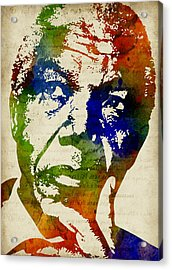 Nelson Mandela Watercolor Acrylic Print by Mihaela Pater