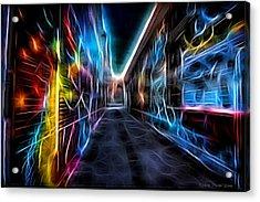 Acrylic Print featuring the photograph Neon Aleey by Michaela Preston