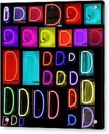 Neon Alphabet Series Letter D Acrylic Print by Michael Ledray