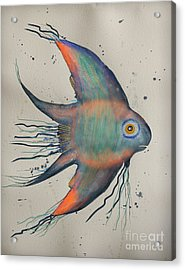 Acrylic Print featuring the mixed media Neon Blue Fish by Walt Foegelle