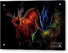 Acrylic Print featuring the digital art Neon Buck by Ray Shiu