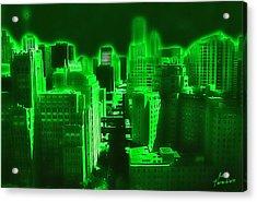 Neon Chicago Acrylic Print by Kathy Tarochione