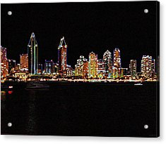 Neon City Acrylic Print by Evelyn Patrick