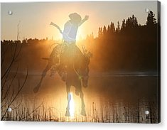 Neon Cowboy Acrylic Print by Andrea Lawrence