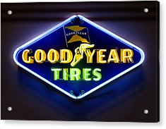 Neon Goodyear Tires Sign Acrylic Print by Mike McGlothlen