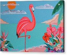 Neon Island Flamingo Acrylic Print
