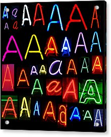 Neon Series Letter A Acrylic Print