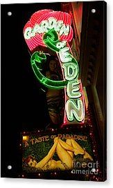 Neon Sign At Night In North Beach San Francisco 1 Acrylic Print by Jason Rosette