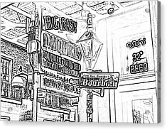 Neon Sign On Bourbon Street Corner French Quarter New Orleans Black And White Photocopy Digital Art Acrylic Print by Shawn O'Brien