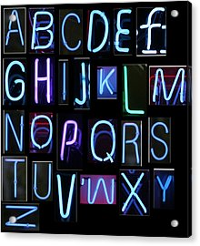Neon Sign Series Featuring The Alphabet In Blue Acrylic Print