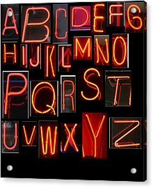 Neon Sign Series Featuring The Alphabet In Red Acrylic Print