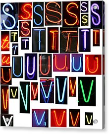neon sign series letters S through V Acrylic Print by Michael Ledray