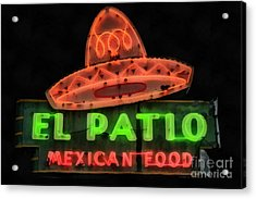 Acrylic Print featuring the painting Neon Sign Series Mexican Food Austin Texas by Edward Fielding