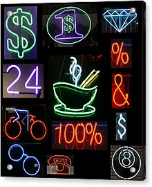 Neon Sign Series Of Various Symbols Acrylic Print