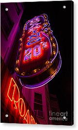 Acrylic Print featuring the photograph Neon Signs At Night In North Beach Low Angle Ve by Jason Rosette