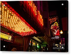 Neon Signs At Night In North Beach San Francisco With Light Bulb Awning Acrylic Print by Jason Rosette