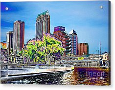 Neon Tampa Acrylic Print by Carol Groenen