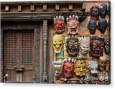 Nepalese Carving Acrylic Print by Tim Gainey