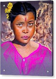 Nepalese Girl Acrylic Print by David  Horning