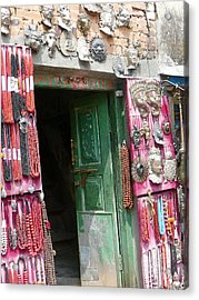 Nepalese Jewelry Shop Acrylic Print by Dagmar Batyahav
