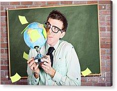 Nerd Man Holding Earth World Globe In Classroom Acrylic Print by Jorgo Photography - Wall Art Gallery