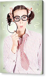 Nerdy School Girl Student With Education Question Acrylic Print by Jorgo Photography - Wall Art Gallery