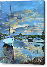 Nestled In For The Night At Mylor Bridge - Cornwall Uk - Sailboat  Acrylic Print