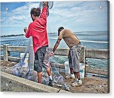 Net Fishing On Cortez Bridge  Acrylic Print by Glenn Gemmell