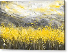 Neutral Sun - Yellow And Gray Art Acrylic Print