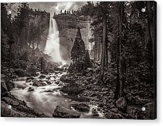 Acrylic Print featuring the photograph Nevada Fall Monochrome by Scott McGuire