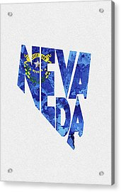 Nevada Typographic Map Flag Acrylic Print