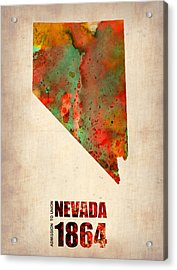 Nevada Watercolor Map Acrylic Print by Naxart Studio