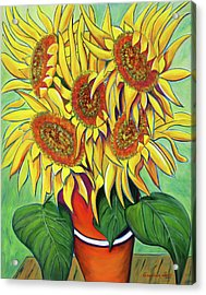 Never Enough Sunflowers Acrylic Print by Andrea Folts