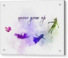 Never Grow Up Acrylic Print by Rebecca Jenkins