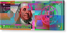 New 2009 Series Pop Art Colorized Us One Hundred Dollar Bill  No. 3 Acrylic Print by Serge Averbukh