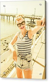 New Age Pin Up Taking Phone Selfie Acrylic Print by Jorgo Photography - Wall Art Gallery
