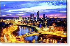 Acrylic Print featuring the photograph New Center Of Vilnius by Fabrizio Troiani