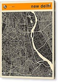 New Delhi Map Acrylic Print by Jazzberry Blue