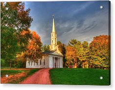New England Autumn - White Chapel Acrylic Print