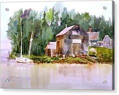 New England Boat Repair Acrylic Print by Larry Hamilton