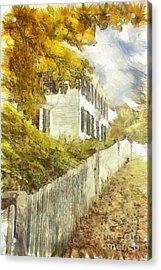 New England Fall Foliage Pencil Acrylic Print by Edward Fielding