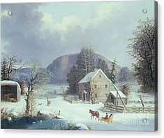 New England Farm By A Winter Road, 1854  Acrylic Print