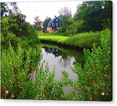 New England House And Stream Acrylic Print