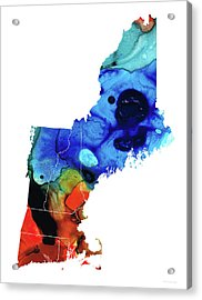 New England - Map By Sharon Cummings Acrylic Print by Sharon Cummings