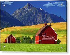 Acrylic Print featuring the photograph New England Patriots Barn by Movie Poster Prints